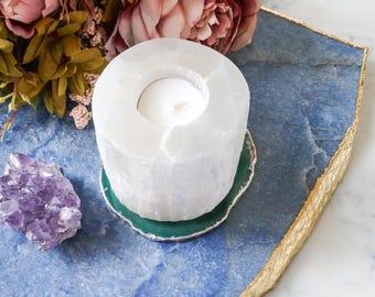SC3 White selenite candle holder. Round selenite tall candleholder. white quartz crystal home decor. tea light