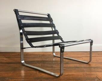 Vintage Modern Ebonized Wood Slat Lounge Chair