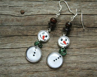 Snowman earrings, winter earrings, snow earrings, white earrings, Christmas earrings, Snow jewelry