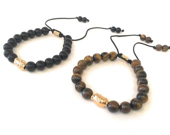24K Gold Plated Buddha Head Black Onyx and Tiger  Eye Bracelets Set of 2