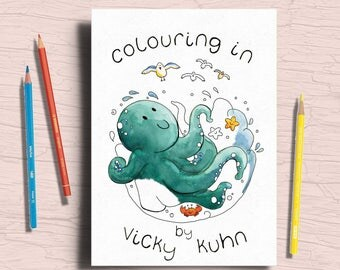 Cute Colouring Book - Coloring Book - Kids Colouring Book - Vicky Kuhn Coloring Book
