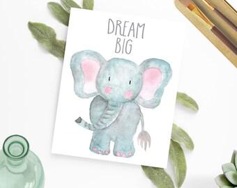 Watercolor Elephant Nursery Art, Safari Animal Nursery, Nursery Art Prints, Safari Nursery Ideas, Jungle Nursery, Safari Theme Nursery, Baby