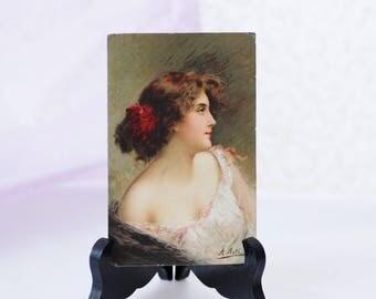 Raphael Tuck & Sons, antique postcard, a portrait print of Irene by A.Asti, c1910s.
