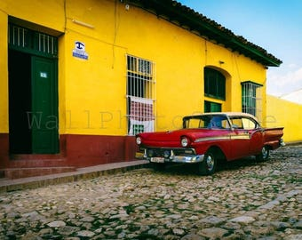 Cuba Photography, Old Red American Car next to  Yellow Wall, Car Photography, Havana, Cuba Print Art, Fine Art Photography, Cuba Wall Art