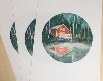 Red Cabin Print