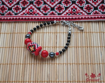Womens bracelet red black jewelry wife gifts gift for sister daughter gift stone bracelet energy bracelet boho jewelry cross stitch jewelry