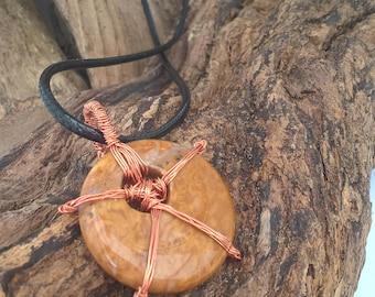 Brown Jasper & Copper Pendant on Leather Cord