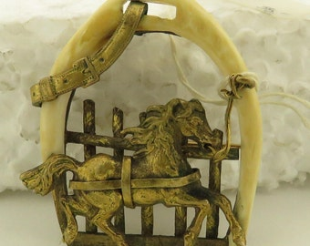 """Antique Hand Made & Carved Brass / Bone Horse 1 1/4"""" x 1.5"""" Pin."""