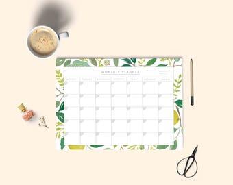 2018 Calendar. Printable planner, Monthly Planner, Desk Planner, Watercolor monthly planner, Instant download. 2018 Printable planner