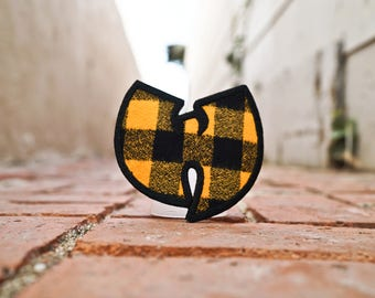 Flannel Burnt Yellow/Orange and Black Pattern, Wu Tang, 90s Hip Hop Rap Patch