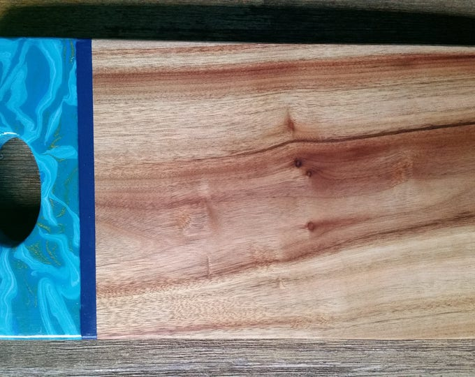 Camphour wood serving board customised with original artwork