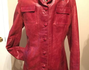 Vintage Men's Oxblood Italian Leather Jacket sz. Small