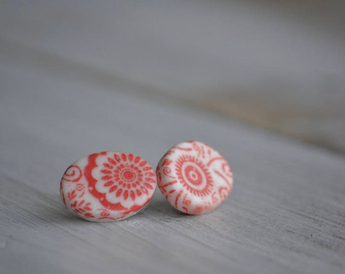 Oval red circles porcelain earrings