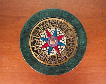 Zodiac Bowl with Lid - Zodiac Decor - Metal Bowl - Decorative Metal Bowl - Teal Bowl - Mosaic Art Bowl - Astrology Decor - Zodiac Signs
