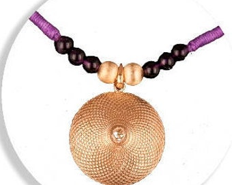 Silver And Bronze Sahasrara Chakra Pendant With Amethyst