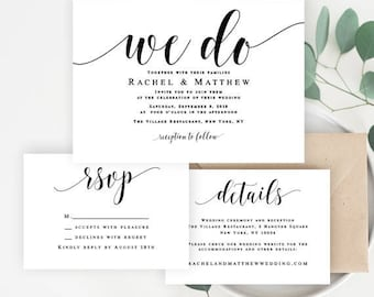 We do wedding invitation DIY wedding invitation kit Rustic wedding invitation Elegant invitation template Editable template download #vm31