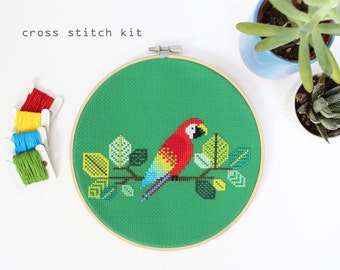 Red Parrot - Modern Counted Cross Stitch Kit - DIY cross stitch kit