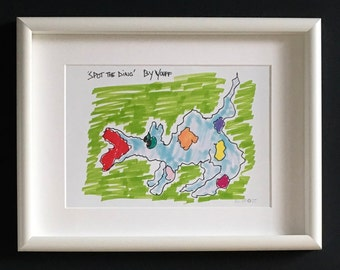 Limited Edition. Dinosaur. Cheerful colours print for kids room. Spot the ' dino '