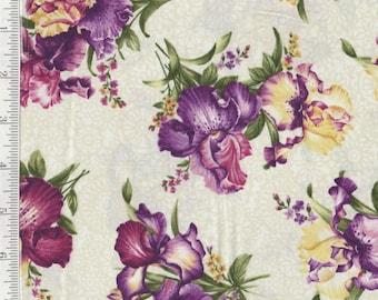 Irresistable Iris - Per Yd - Benartex - Iris on Ecru