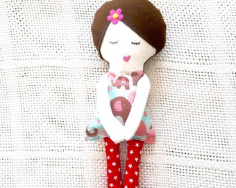 READY TO SHIP, Rag Doll, baby girl toy, cloth doll, white stork creations