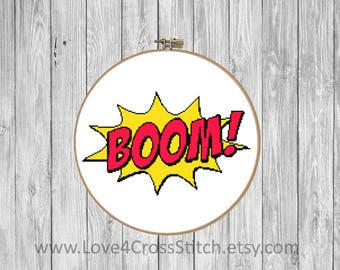 Comic Cross Stitch Pattern Modern, Superhero Cross Stitch, Boom Cross Stitch, Teen Cross Stitch, Easy Cross Stitch, Comics Word Cross Stitch