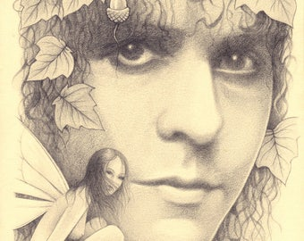 Original drawing of Marc Bolan and fairy