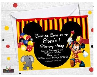 Mickey Circus Invitation | Mickey Carnival Invitation | Mickey Mouse Carnival Invitation | Mickey Mouse Circus Invitation | Circus Invites