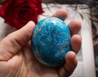 Jumbo Blue Apatite Palmstone, Blue Apatite, Psychic Gifts, Ka, Magic, Third Eye, Etheric Chakras, Meditation, Metaphysical, Crystal Grid