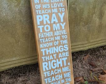 Teach Me Rustic Wood Sign~Nursery Wood Sign~Boy Nursery~Wood Sign~Rustic Wood Sign~Faith Nursery Sign~Faith~Prayer Sign~Nursery Prayer Sign