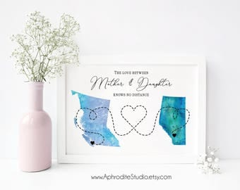 Long distance mother print - Gift for mom - mother's day gift - Love between mother and daughter knows no distance moving away gift for mom