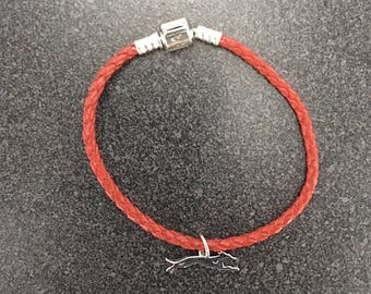 Greyhound Charm on Leather Bracelet