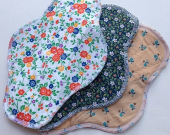 "3 pc Set 9"", Priced to Sell, Reusable Cloth Pads, Retro Inspired Fabrics, Ready to Ship"