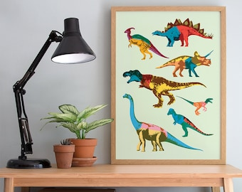 Dinosaur Print - A4, A3 Wall Art - Children's Bedroom - Colourful Home Decor - T Rex  - Triceratops - Prehistoric Interior Poster