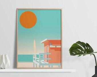 California Beach Lifeguard Hut Print - 30 x 40cm/ 21 x 30cm - A3 A4 Surf Print