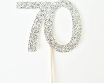 70th Birthday Cupcake Toppers - Set of 12 - 70th Birthday Party Decor