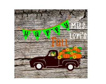 Happy Fall Pumpkin Old truck scarecrow banner wood sign  Halloween SVG DFX Cut file  Cricut explore file