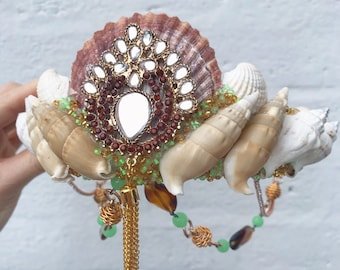 Brown Topaz With Green And Gold Jewels Sea Shell Mermaid Crown Hair Head Band