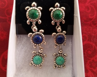 E029 Vintage Sterling Silver Earrings with Turtle Motif
