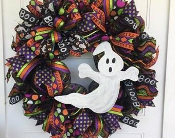 Halloween Wreath, Ghost Wreath, Halloween Ribbon Wreath, Friendly Ghost Wreath, Halloween Decor, Ghost Decor, Mesh Halloween Wreath
