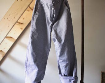 Vintage unisex work pants / Vintage overalls / pants Baker / Vintage Blue Work Pants / / black/white gingham print