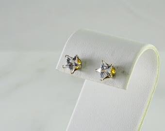 Star Crystal Stud Pierced Earrings Sterling