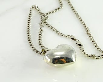 """Puffed Heart """"Bell"""" Necklace 21"""" All Sterling Silver"""