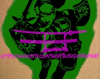 Legend Of Zelda, Link Stencil Digital Vector Cutting Files .Pdf .Png .Psd .Ai .Svg