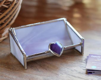 Glass Business Card Holder - Purple with Purple Agate HEart
