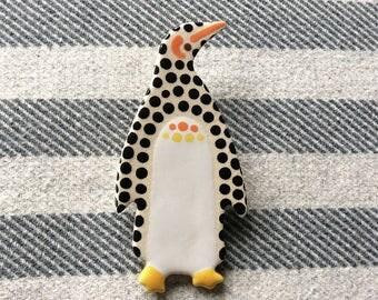 Dotty Penguin Brooch, Ceramic Penguin Brooch, Christmas Penguin, Handmade Brooch, Penguin Gift.