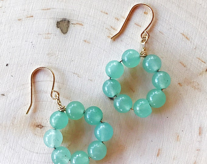 Reiki-Infused Green Aventurine Earrings, Crystal Bead Jewelry, Healing Stone, Natural Gemstone, Gold Dangle Hoops, Boho, Chakra Balancing