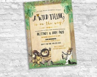 Where The Wild Things Are Baby Shower Invitation, Wild Thing On the Way Invitation, Storybook Baby Shower Invitation