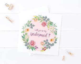 Rose Will You be my Bridesmaid Card