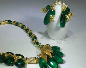 Emerald Green faceted quartz elongated teardrops together with heart faceted teardrops