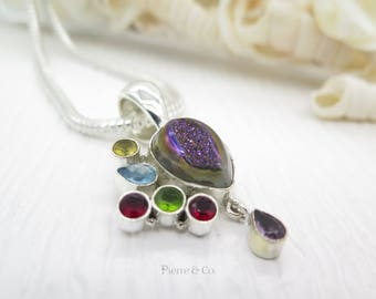 Purple titanium Drusy Garnet Peridot Citrine Sterling Silver Pendant and Chain